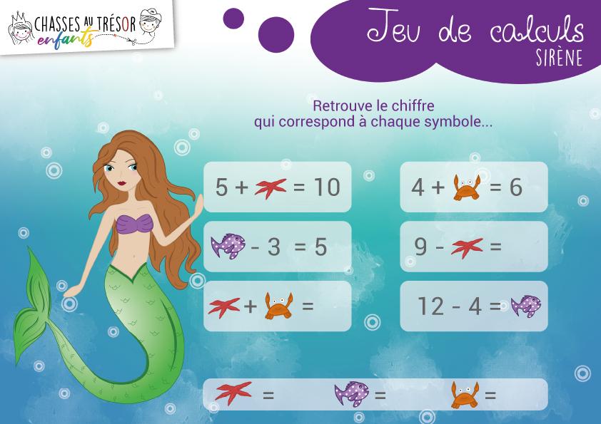 CHASSES AU TRESOR ENFANTS - Fiche activité calcul - Sirène
