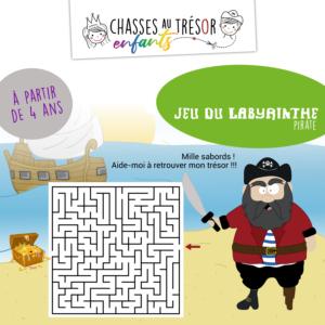 CHASSES AU TRESOR ENFANTS - Fiche activité labyrinthe - Pirate
