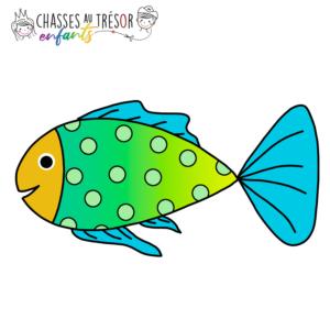 Chasses au trésor enfants coloriage poisson