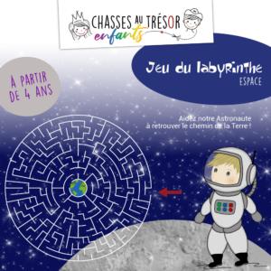 Jeu du labyrinthe de l'espace à imprimer pour enfants