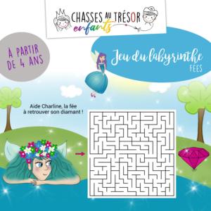 Jeu du labyrinthe des fées à imprimer pour enfants